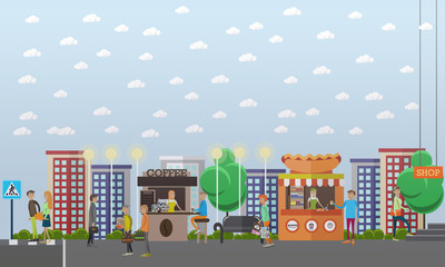 Street traffic concept vector illustration in flat style