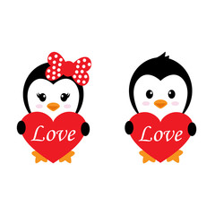 cartoon cute penguin set with heart and text