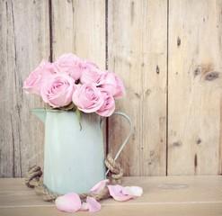 Grußkarte - rosa Rosenstrauß