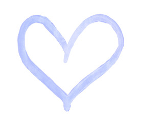 The outline of the light blue heart drawn with paint on white background