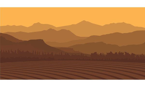 Landscape Silhouette Farm And Mountain Vector Illustration