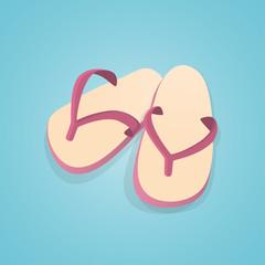 Pair of Flip flops Beach slippers.vector illustration