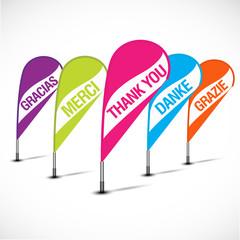 bannières flottantes multicolores : merci