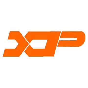 Vector initial letter XP logo icon orange color design template