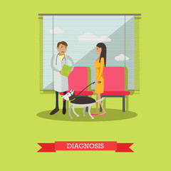 Talk about diagnosis in vet clinic, vector illustration, flat design