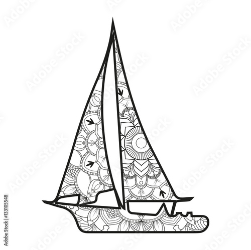 Molto Vector illustration of a sail boat mandala for coloring book  NC58