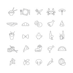 Set of simple icons with food.