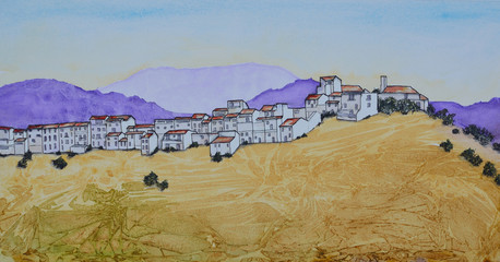 Ink and Watercolor painting of The Spanish hillside town of Alora Andalucia.