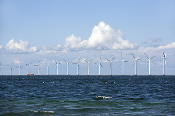 Wind Turbins in Oresund between Sweden and Denmark