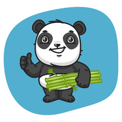Panda Holds Bamboo and Showing Thumbs Up