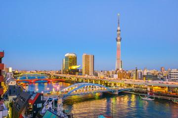 Tokyo skyline with the Sumida River