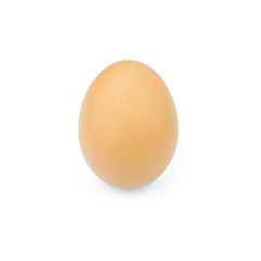 Single brown chicken egg isolated on white..