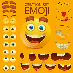 Yellow smiley face character for your scenes template. Emotion big set