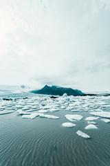 Island and icebergs