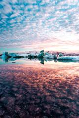 Sea, ice and sunset