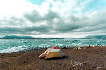 Campsite by icy sea