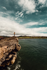 Person standing on rock formation by sea
