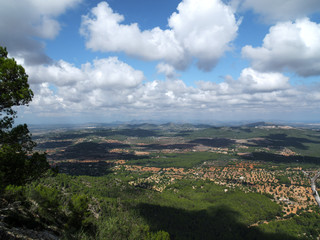 View over Mallorca with cloudy sky