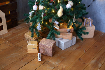 Brown Christmas decorations, Christmas tree, gifts.