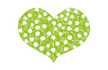 grünes Herz mit floralem Muster