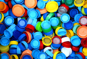 collection of many plastic caps for recycling