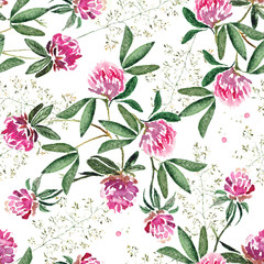 Delicate seamless spring pattern with flowers of clover and greens. Original watercolor painting.