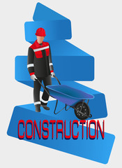 Working man. CONSTRUCTION. Vector image. Poster design, leaflets with the building professions for advertising, announcements, instructions, or presentation.