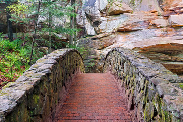 Stone and Brick Footbridge at Old Man's Cave in Hocking Hills State Park, Ohio