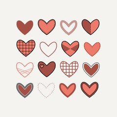 Set contour hearts icons in red