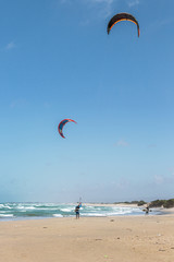 Two kitesurfer returned from training in the Mediterranean - Maagan Michael, Israel