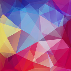 Abstract geometric style colorful background. Vector illustration. Red, pink, blue, yellow colors.