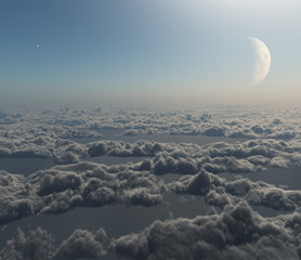 3d rendering fantastic atmosphere above clouds with moon and stars in background