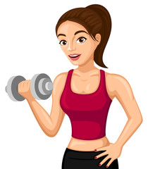 Vector illustration of a woman lifting weights.