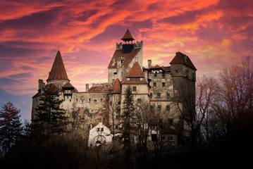 Printed kitchen splashbacks Castle Bran Castle, Transylvania, Romania, known as