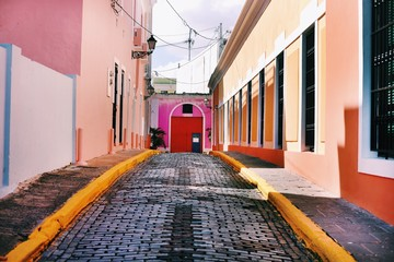 Colourful cobbled lane