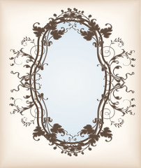 Victorian frame with floral ornaments on an old paper backgrounnd