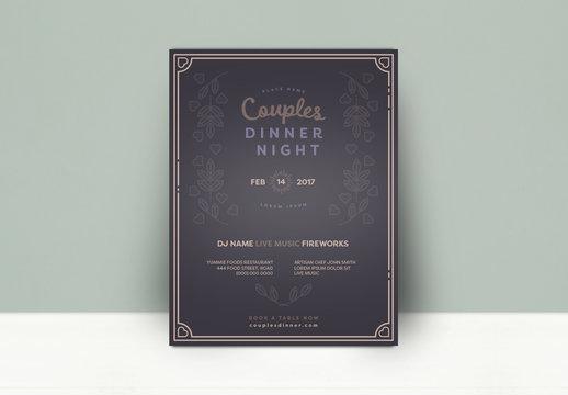 Couples Dinner Night Poster - Dark