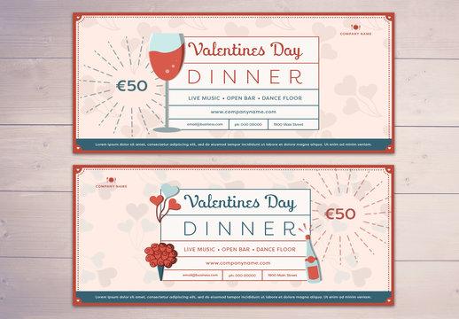 Valentine's Day Restaurant Voucher Layout