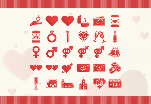 Red Love and Romance Icon Set