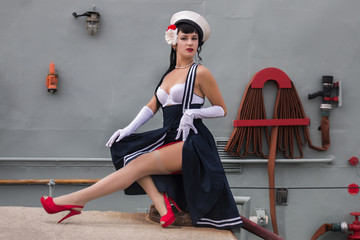 Sailor themed pinup girl