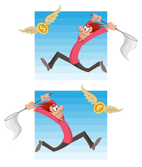 Man trying to catch flying money (dollar coin or euro coin) with a butterfly net. Cartoon styled vector illustration. Elements is grouped and divided into layers. No gradient, no transparent objects.