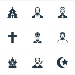 Set Of 9 Simple Faith Icons. Can Be Found Such Elements As Chaplain, Devil, Taoism And Other.