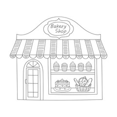 Bakery shop building vector illustration.