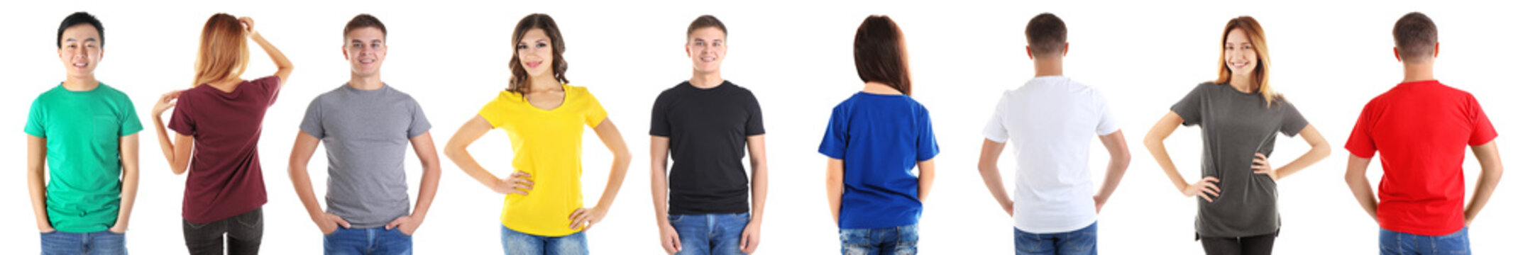Different views of young people wearing t-shirts on white background
