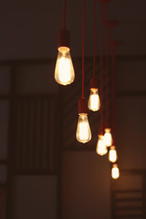 Electric bulbs in cafe interior