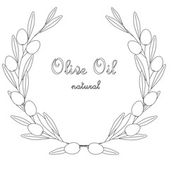 Sketch Olive Oil label, olive branch wreath with leafs and fruits on white, stock vector illustration