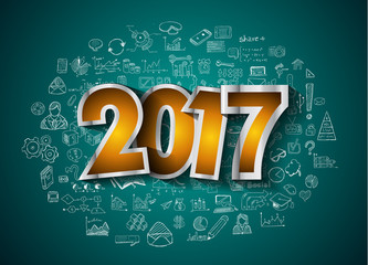 2017 New Year Infographic and Business Plan Background for your Flyers