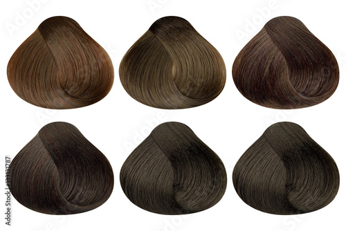Set of locks of six different brown hair color samples (caramel ...