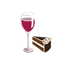 Flat vector image of a wine glass and slice of chocolate cake
