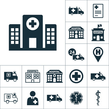hospital building front icon, medical set